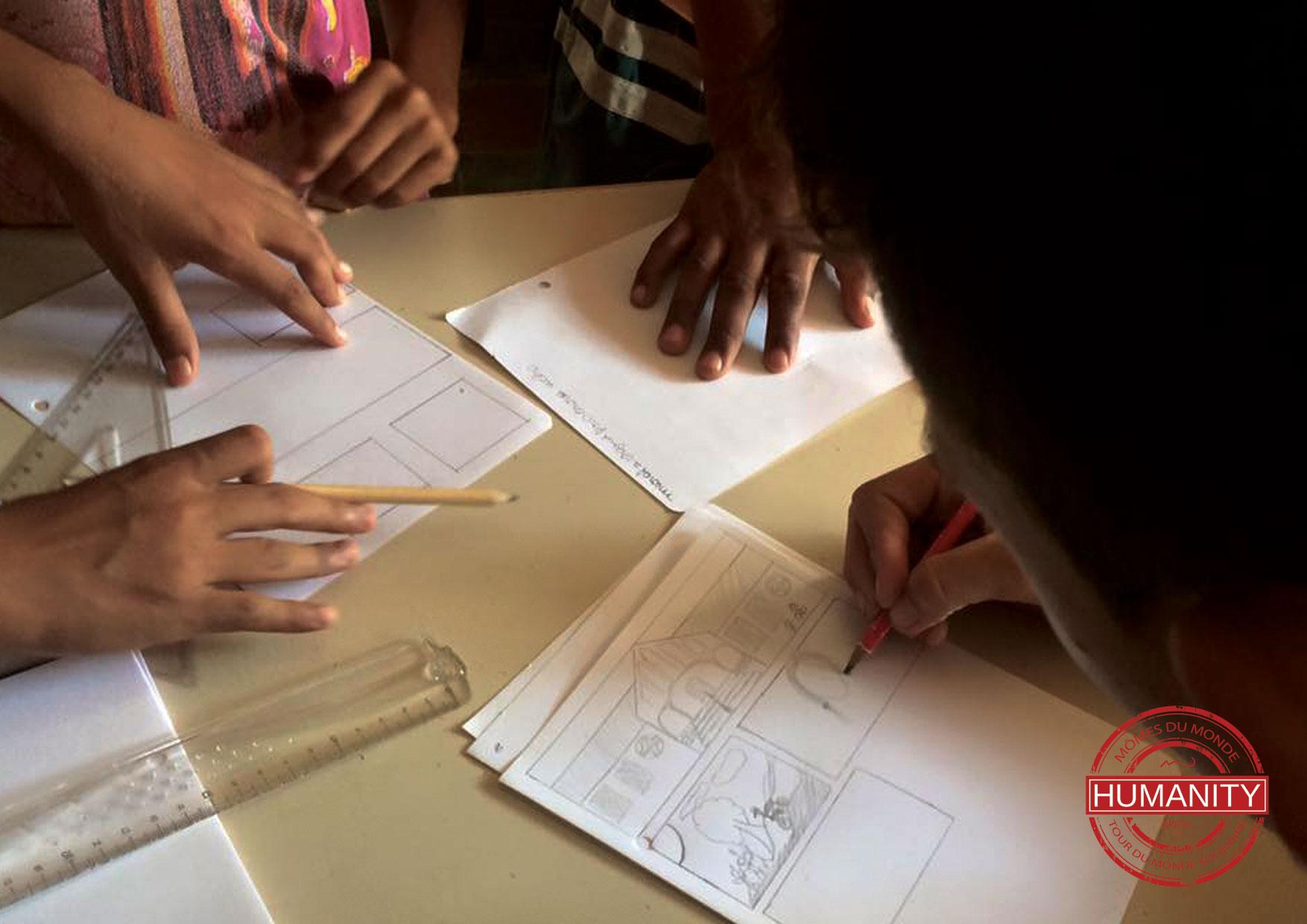 dessin crayon enfants feuille