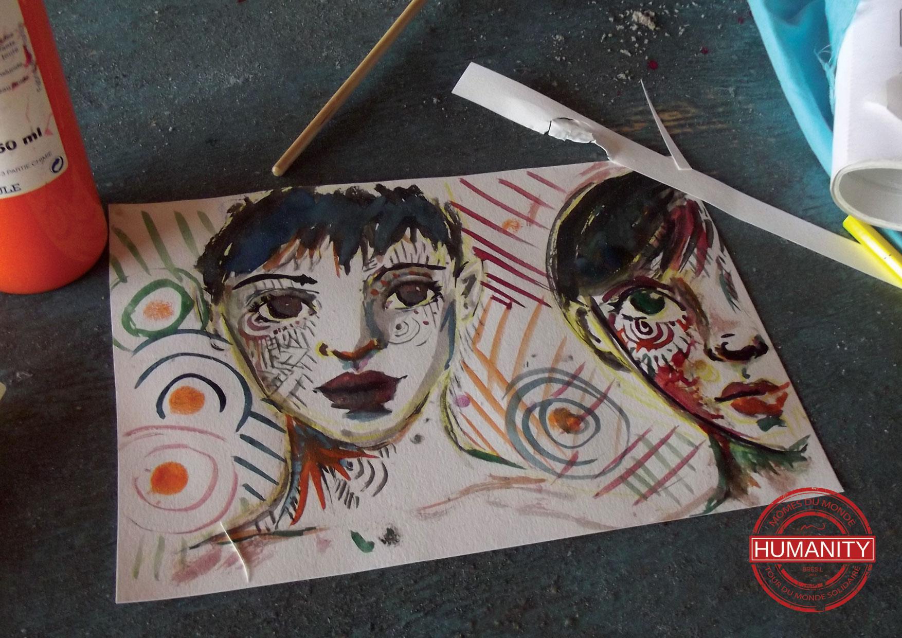 dessin art visage couleurs